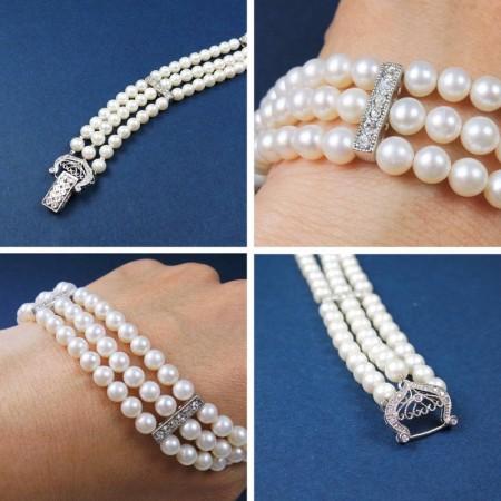 《香氛市集》淡水珍珠三圈手鍊 台灣設計鍍白K扣頭,鑲嵌鋯石