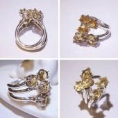 《香氛市集》天然黃水晶繁花純銀戒 ~招財太陽神經叢帶來自信與熱情夥伴及貴人有助考試