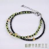 《香氛市集》橄欖與黑眼豆豆雙圈設計手鍊 橄欖石/黃水晶/尖晶石
