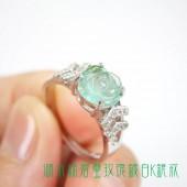 《香氛市集》湖水綠碧璽玫瑰鍍白K銀戒