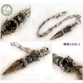LS26-1銀飾金剛杵鋼鍊-大(附贈禮盒、拭銀布)