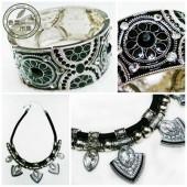 美國進口~組合商品 復古黑色花紋雕刻(手環+項鍊)