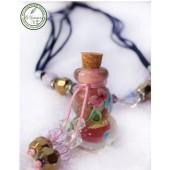 《香氛市集》L072內鑲彩繪琉璃精油瓶鍊~葫蘆型粉紅*1
