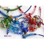 《香氛市集》L091內鑲彩繪琉璃精油瓶造型鍊-圓型(溢香/擴香瓶)
