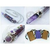 《香氛市集》七脈輪紫水晶治療棒項鍊(贈麂皮套袋)
