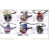 《香氛市集》L193皇冠琉璃紅銅扁形精油瓶皮繩項鍊(溢香/擴香瓶)